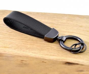 3-Ring Schlüsselanhänger Leder/Edelsthal - Schwarz