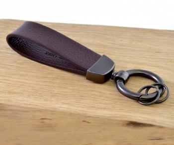 3-Ring Schlüsselanhänger Leder/Edelsthal - Dunkelbraun