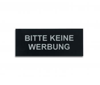 Bitte keine Werbung Schild selbstklebend (schwarz/silber)