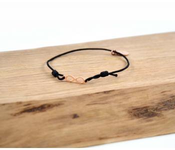 Armband mit Unendlichkeitszeichen Schwarz/Gold